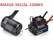 Combo MAX10 60A Brushless ESC+3652SL G2 3300KV Brushless Motor Speed Controller for RC 1/10 SUV/Truck/Car