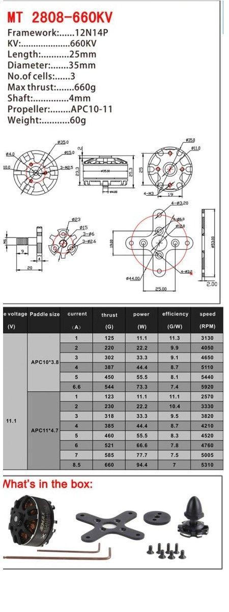 EMAX MT Series MT2808 660KV Outrunner Brushless Motor Multirotor