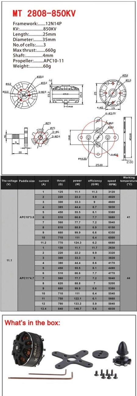 EMAX MT Series MT2808 850KV Outrunner Brushless Motor Multirotor