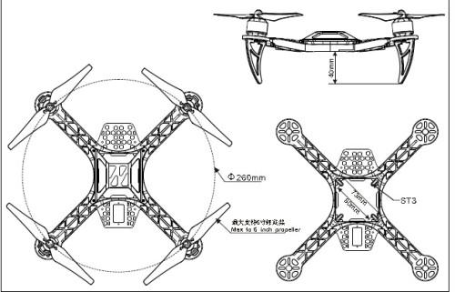 Black Nylon 4 Axis Quadcopter Frame Kit Kk260 Qa279